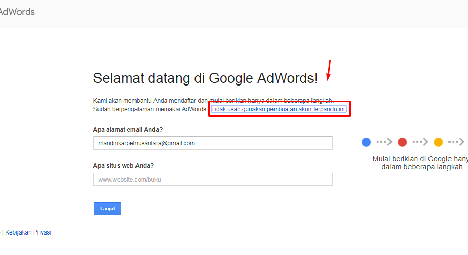 bealih ke Google adwords biasa