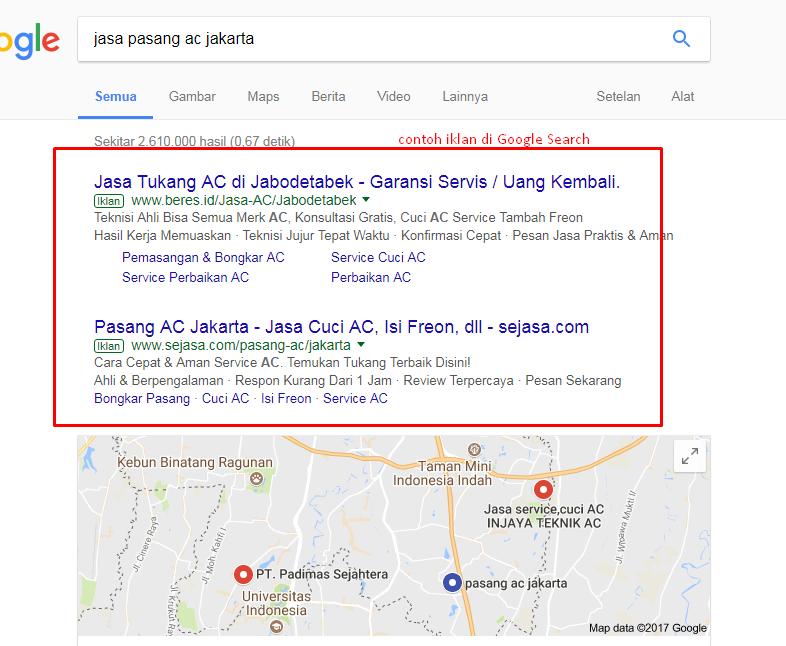 contoh iklan di Google search