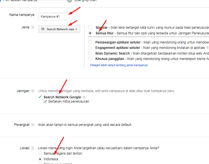 setting akun google adwords